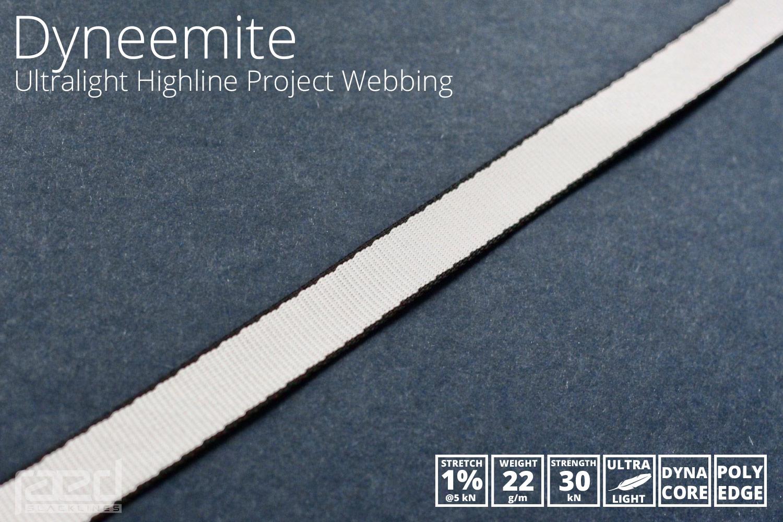 Dyneemite Ultralight Dyneema Polyester Hybrid Highline webbing