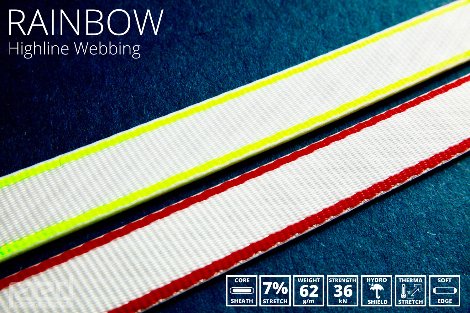 Rainbow polyester highline webbing with round edges