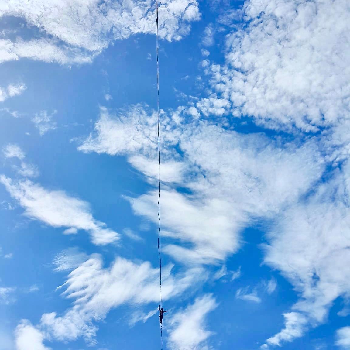 Highline slackline in the sky