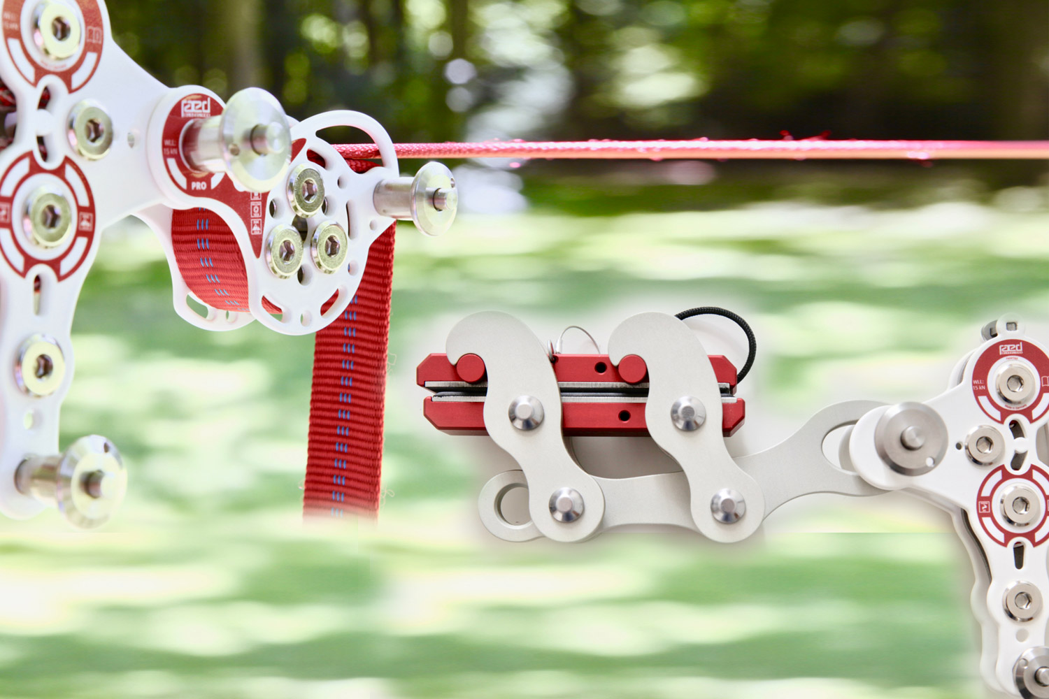 PRO slackline pulley system connected to LineGrip and weblock
