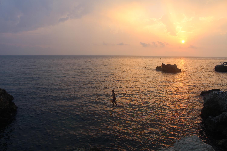 waterline in sunset